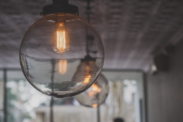 Modern light bulbs hanging from the ceiling.
