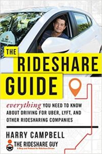 Picture of man driving a car. The rideshare guide and a link to the book.